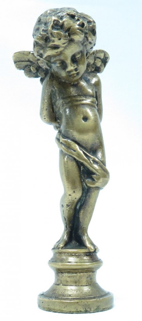 Antique French Bronze Seal, Angel, signed Moreau