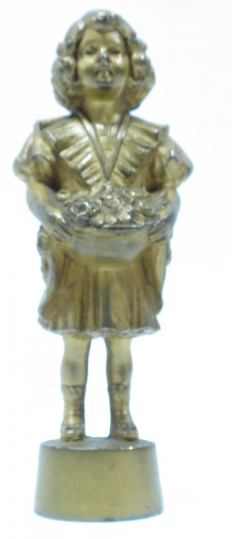Antique French Bronze Seal, Girl w/Basket H-4""