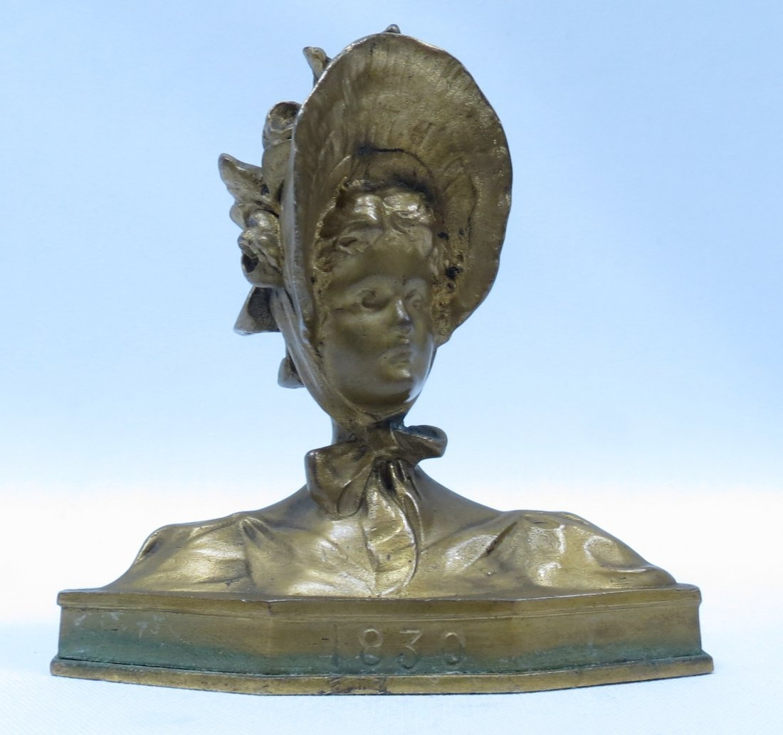 Bronze Bust  of Lady with hat/ flowers  by Gruber