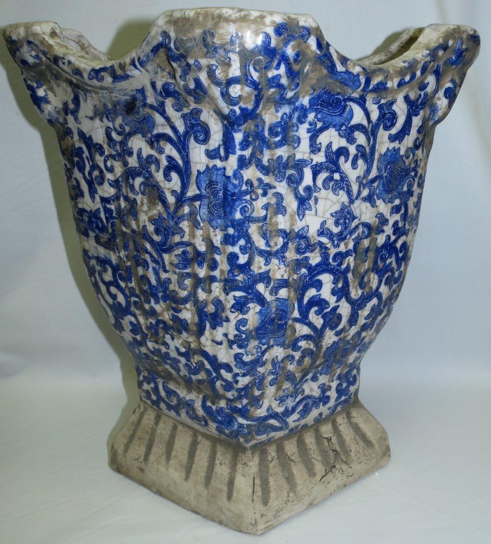 "Maiolica Stone Family Blue Vase  15"" x13""x 9"""