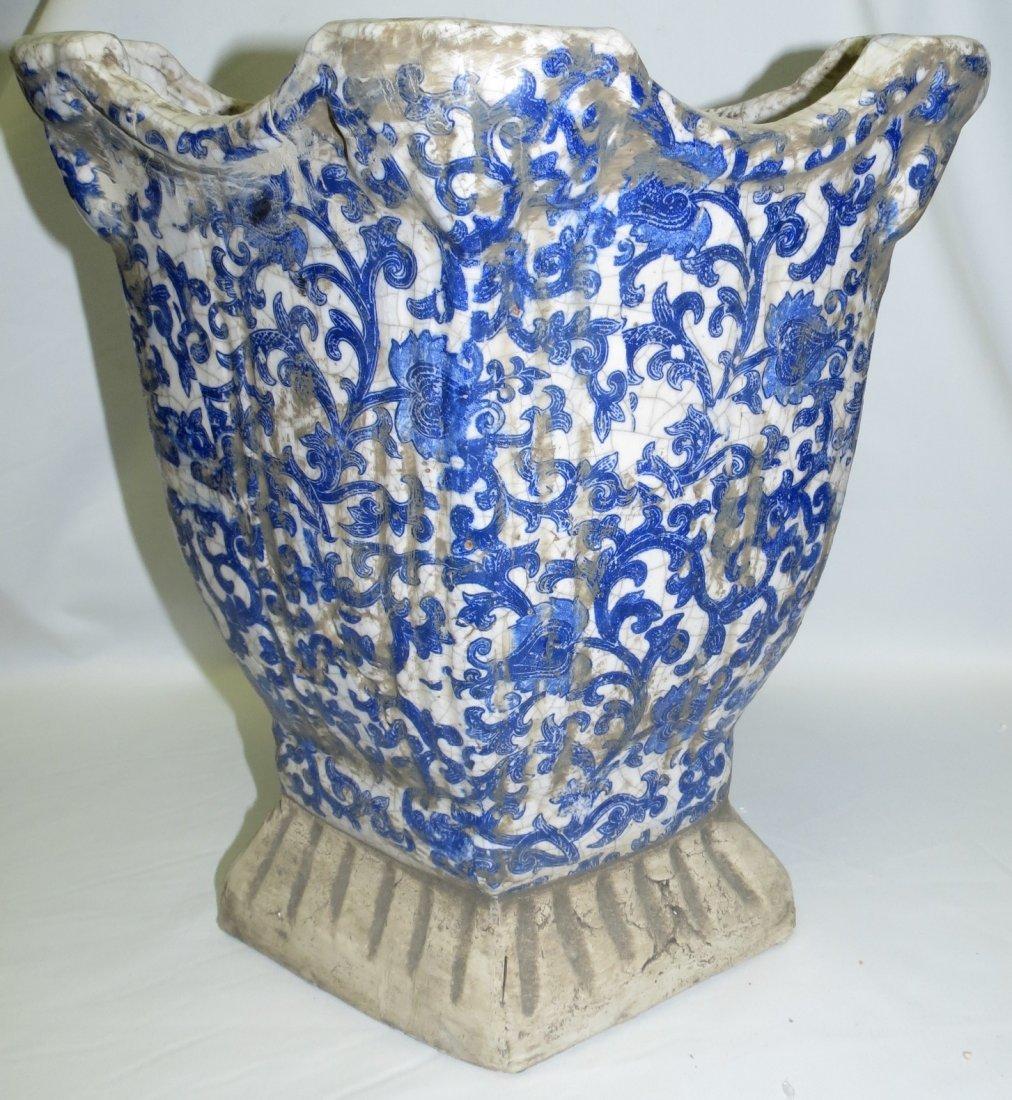 "Maiolica Stone Family Blue Vase  15"" x13""x 9"" - 2"