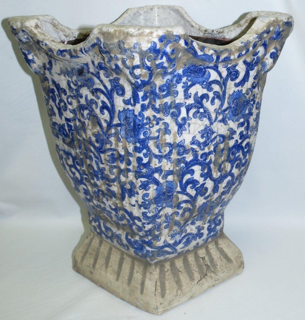 "Maiolica Stone Family Blue Vase  15"" x13""x 9"" - 3"