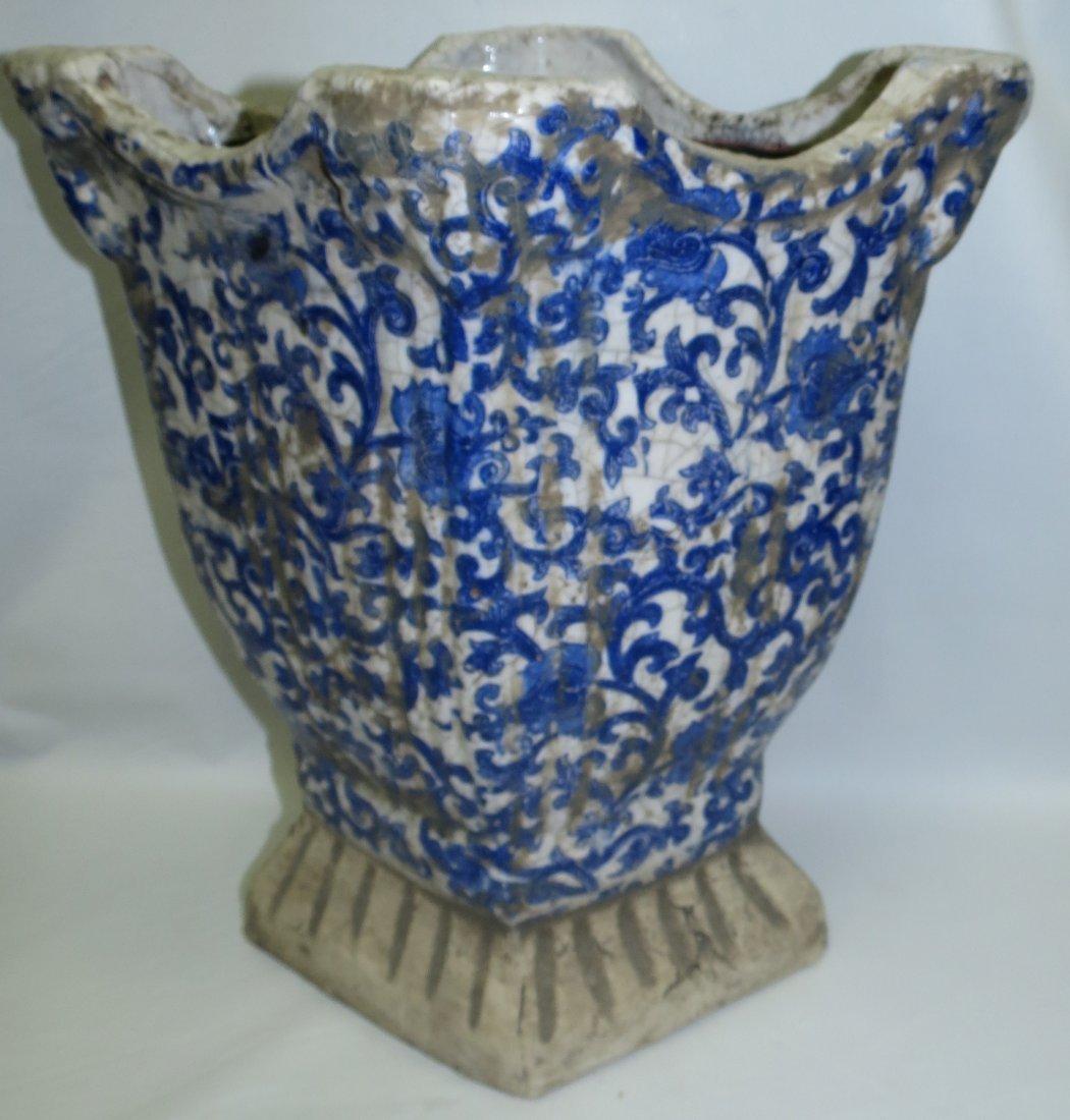 "Maiolica Stone Family Blue Vase  15"" x13""x 9"" - 4"