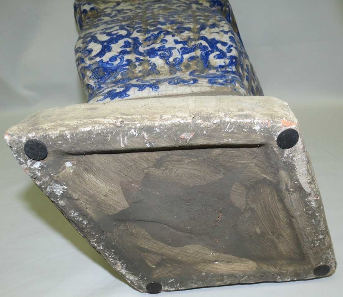 "Maiolica Stone Family Blue Vase  15"" x13""x 9"" - 5"