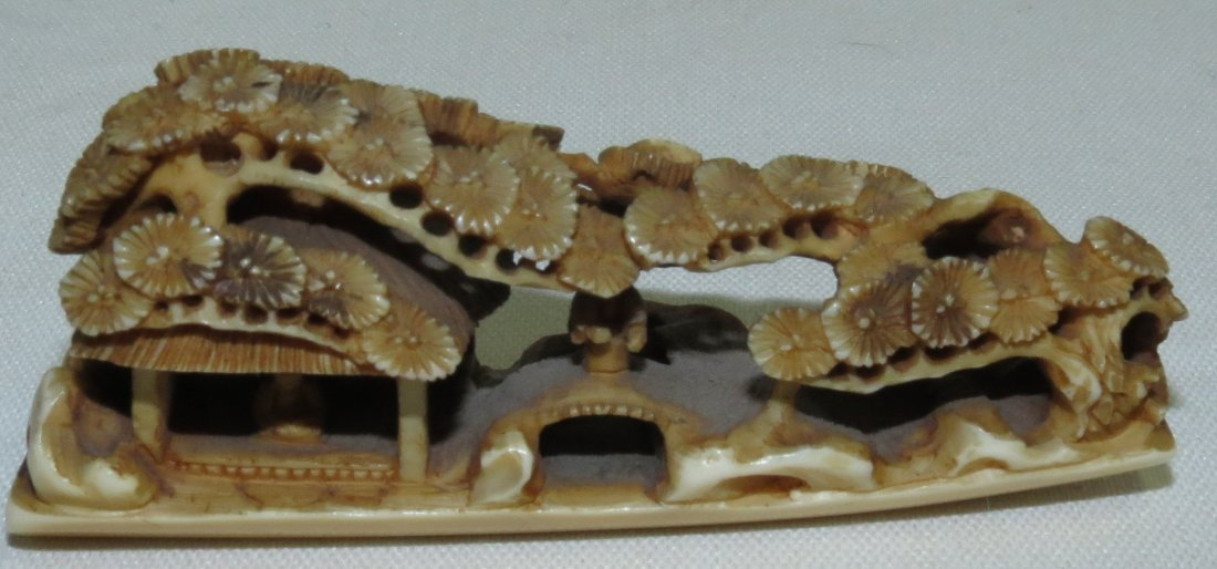 19th Century. Ivory Bridge and house with trees