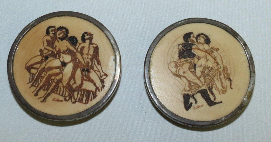 Pair of 19th C.  European Erotic Ivory . Signed