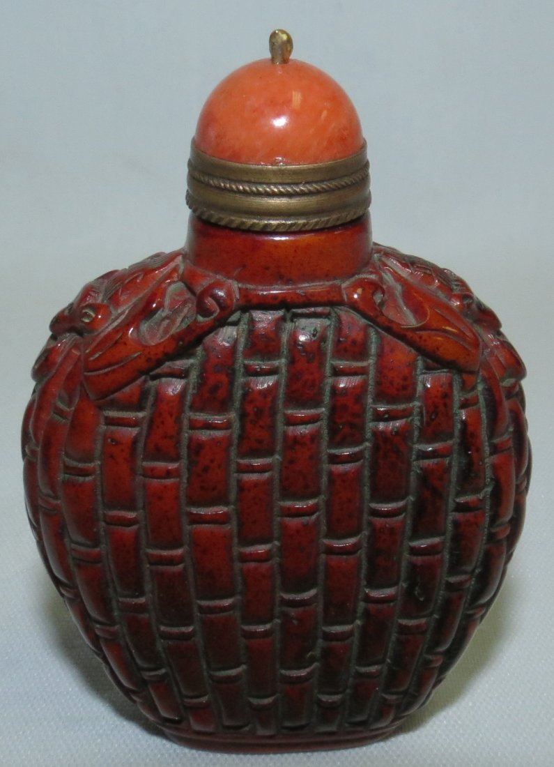Agathe and Bronze Topped Ceramic Snuff Bottle