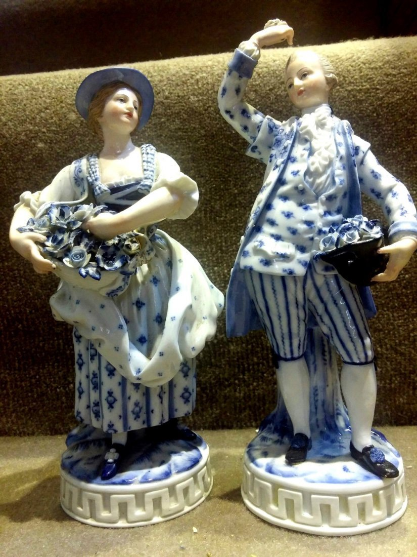 Meissen  Figures of Couple , Man is  H: 7""