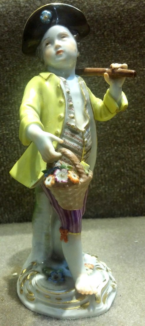 Meissen Boy w/ Shovel & Basket of Flowers H: 5""
