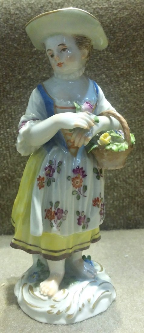 Meissen Girl with Basket of Flowers H: 5.5""