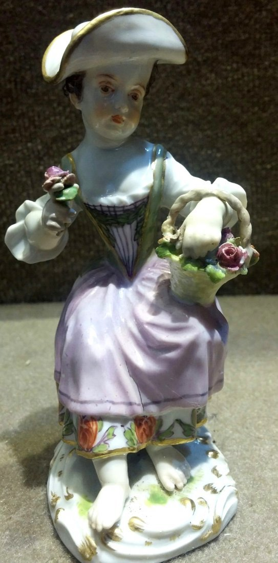 Meissen Woman with Basket and Flower H: 5""