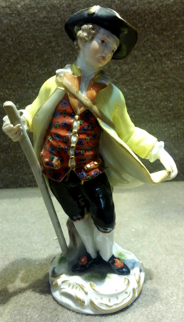Meissen Man with Rod and Backpack H: 5.5""