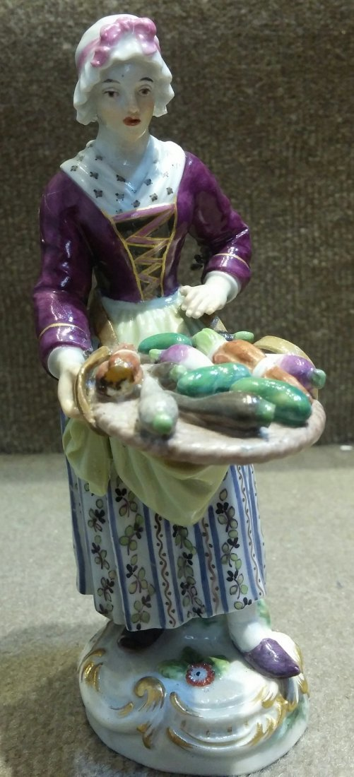 Meissen Woman with Vegetable Tray H: 5""