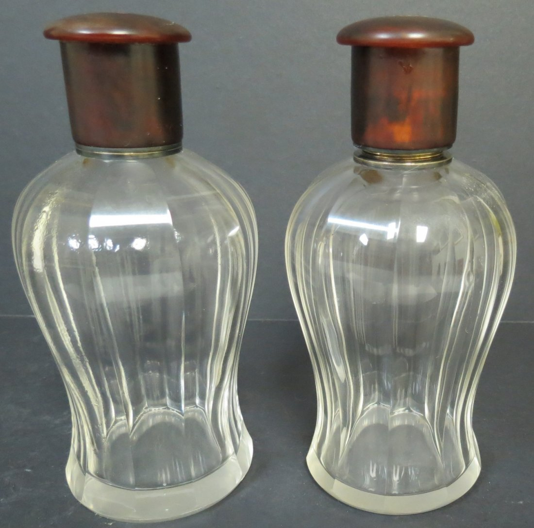 Pair of Crystal, Gold, Silver Perfume Bottles H: 6""