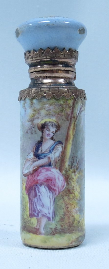 Silver & Enamel Perfume Bottle France 1910 L 2.3""