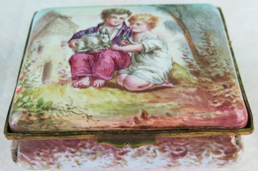 "Enamel Miniature Box Museum Quality 3"" x 2.5"""