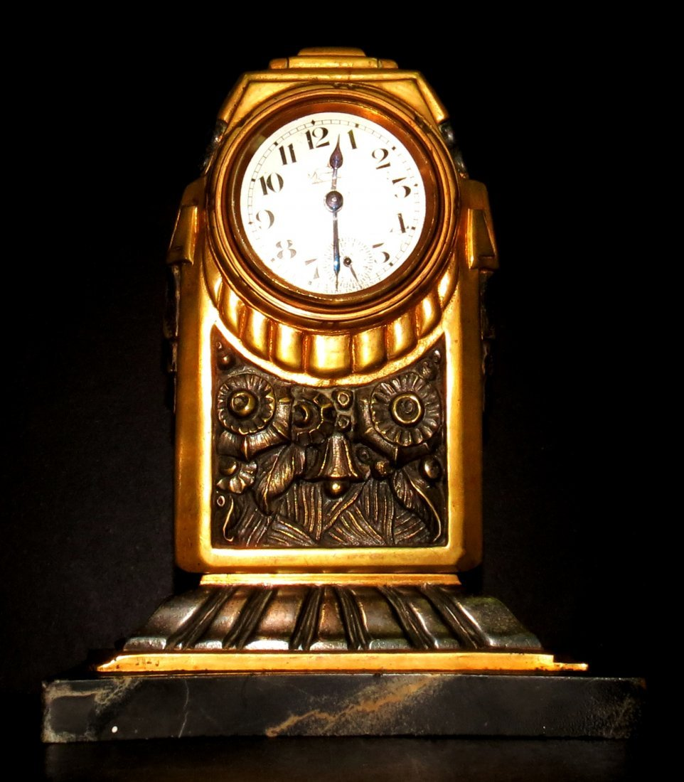 Art Deco Bronze Clock - France 1920 H: 7.2""