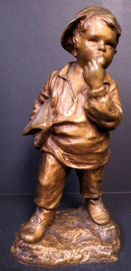 D'Aste Bronze Sculpture of Boy - France H: 7""