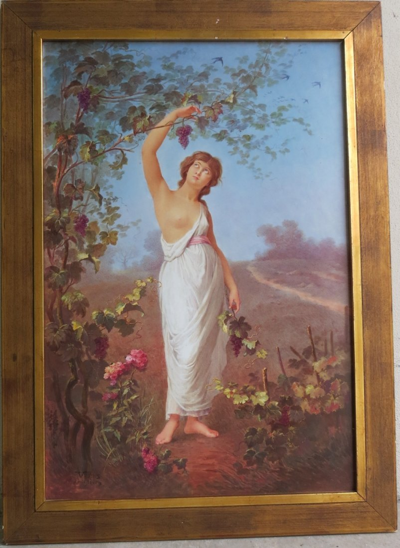 Porcelain Plaque Girl w/Grapes,  T.Tastens c.1890