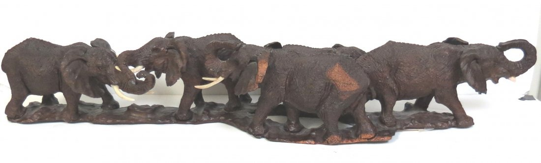 """Elephants Family Sculpture Carved Ironwood L: 25"""""""