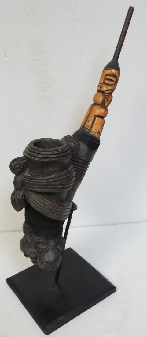 """Zaire Pigmy Pipe Old Carved wood H: 17"""""""