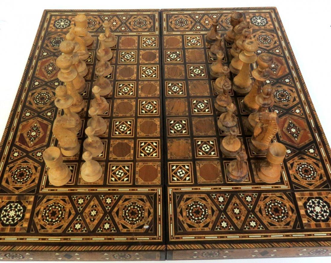 "Backgammon & Chess Set Marqueterie 18"" x 18"""