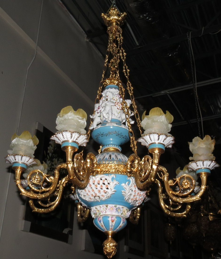 "Chandelier Porcelain & Bronze Cherubs H: 46"""