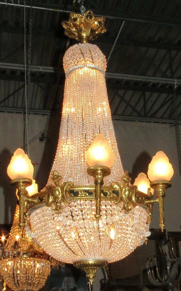 "Crystal & Bronze Empire Chandelier, France  H:42"""