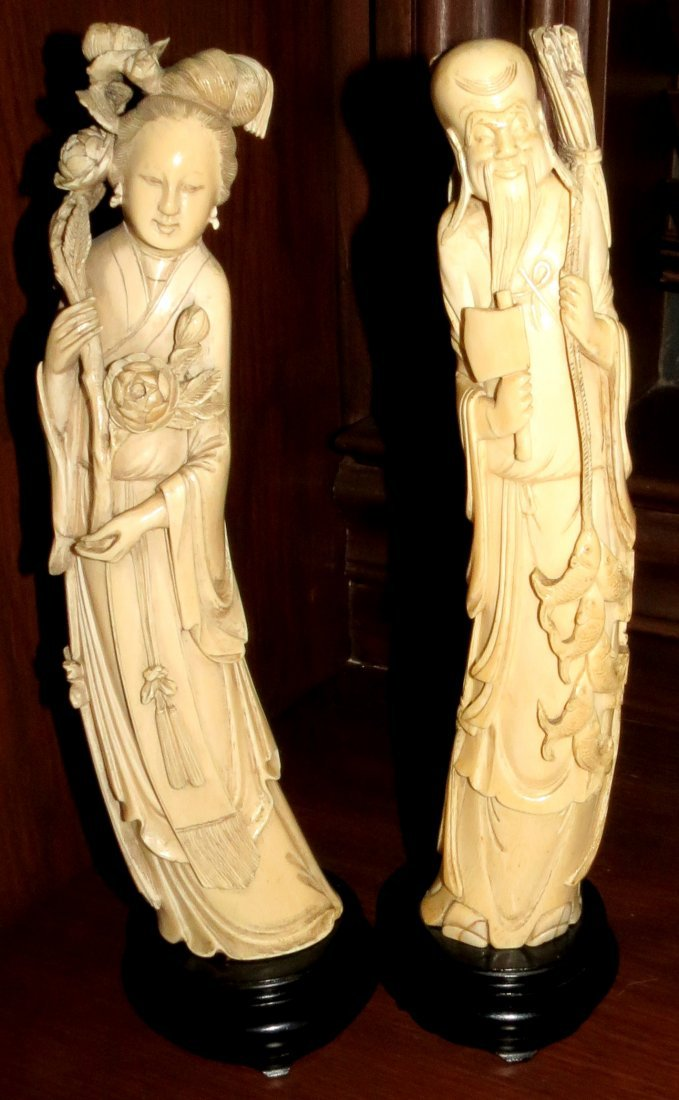 """Chinese Pair of Ivory Sculptures (1890) H: 11.5"""""""
