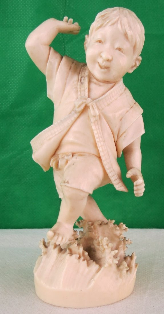 """Chinese Boy Playing, Carved Ivory 1910 H: 3.8"""""""