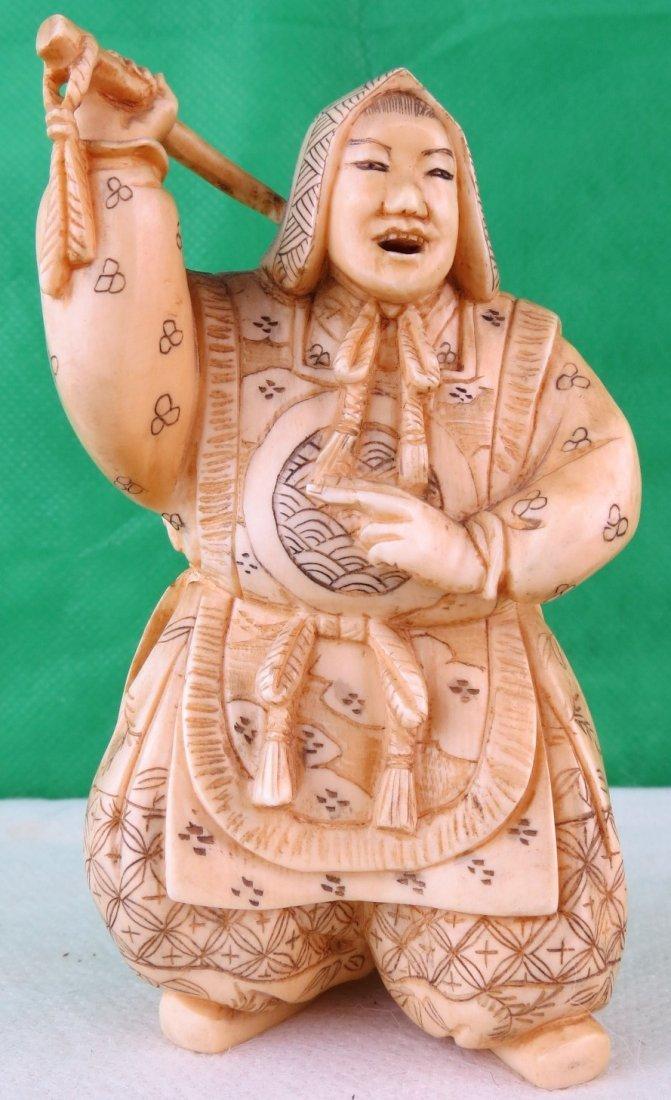 Samurai Sculpture Two Faces Ivory Japan 1870