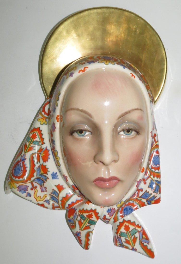 "Lenci Porcelain Mask Art Deco,Signed.  H: 13.5"""