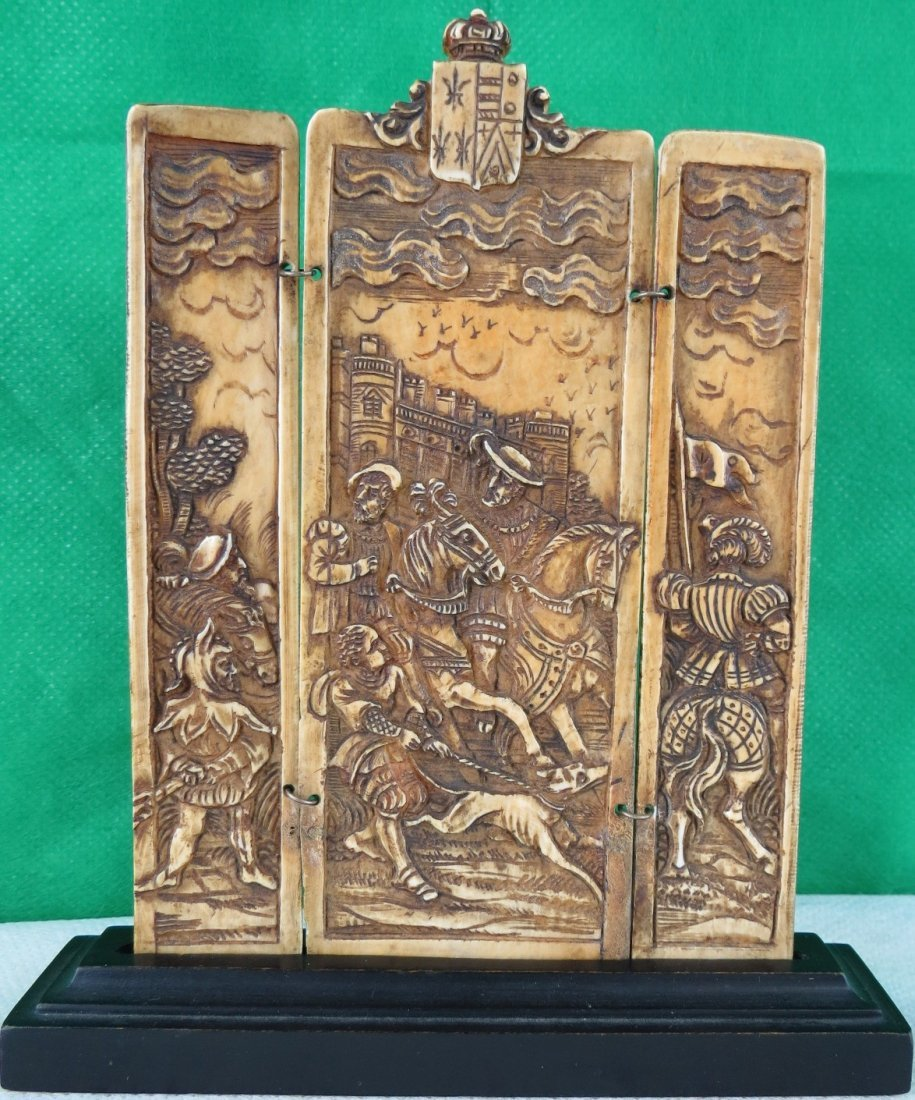 """Ivory Triptych Sculpture Germany 1800 3.5"""" x 3.5"""""""