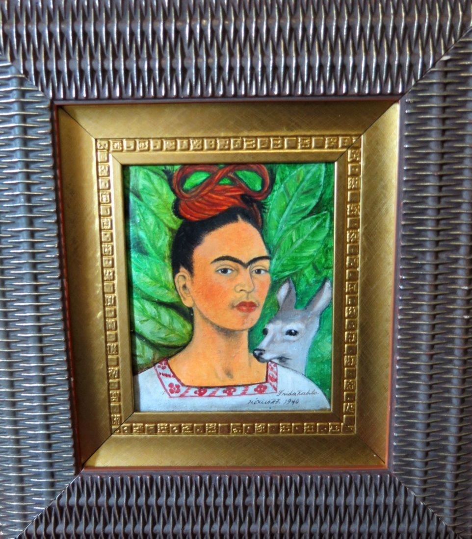 """Frida Kahlo Oil on Canvas Art: 7"""" x 6"""" COA"""