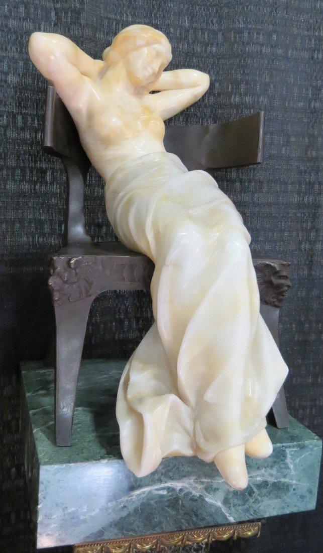 Emilio Fiaschi Art Deco  Alabaster & Bronze,signed.