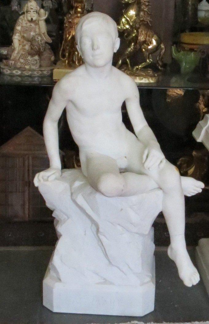 """Carrara Marble Sculpture - """"Al Mare"""" Italy 1900"""