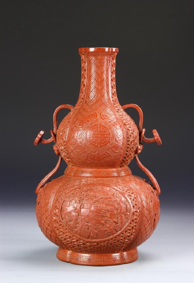 Chinese Red Double Gourd Vase