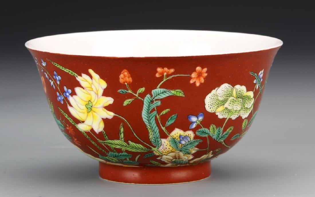 Chinese Red Glazed Famille Rose Bowl