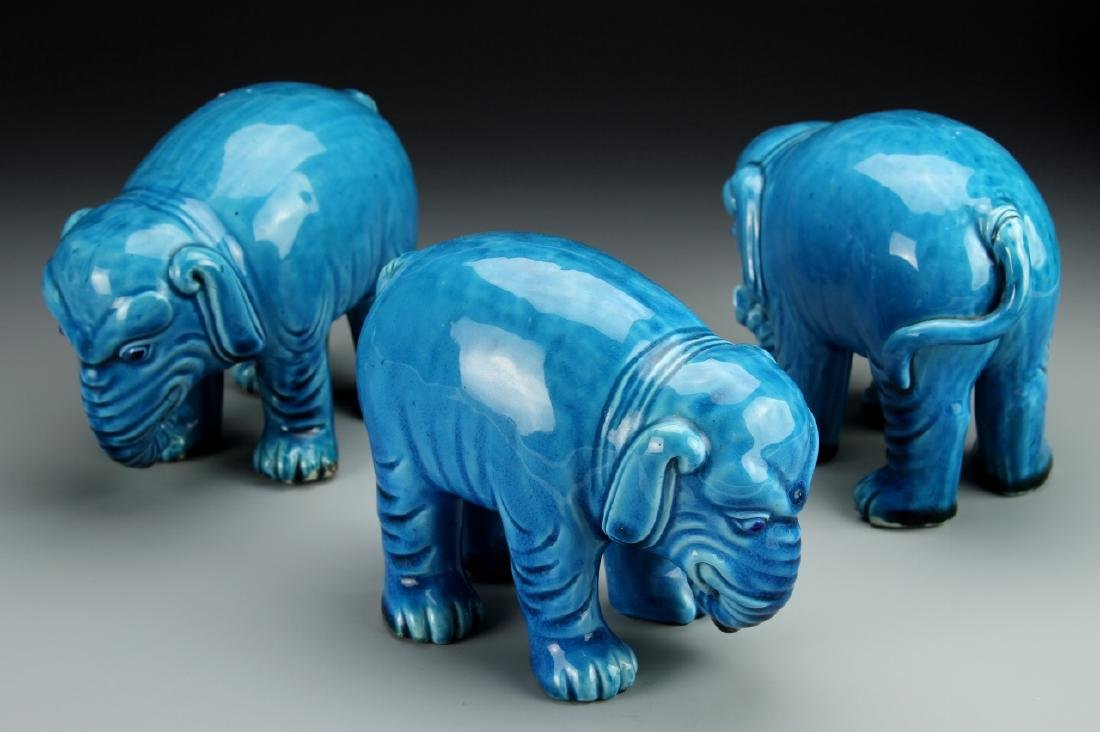 Three Chinese Glazed Elephants