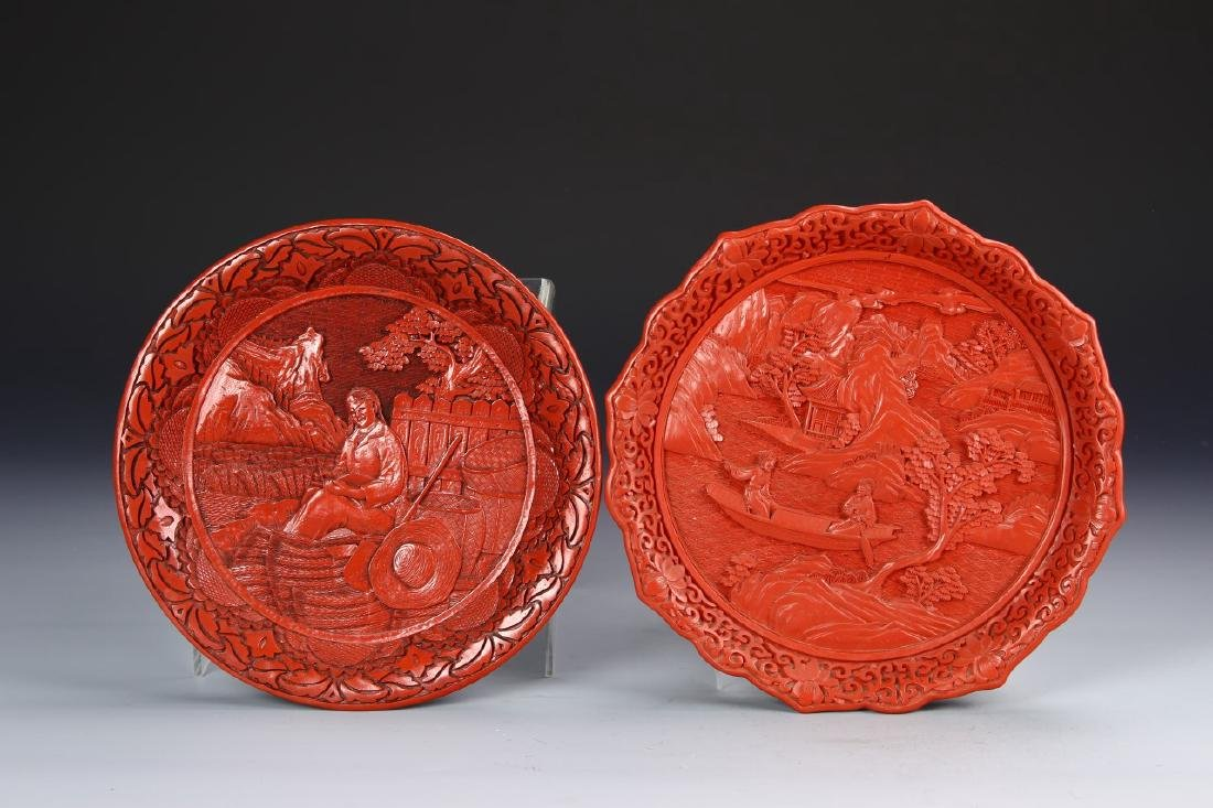 Two Chinese Cinnabar Plates