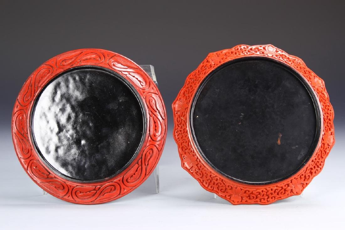 Two Chinese Cinnabar Plates - 4