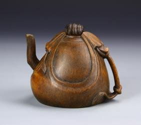 Very Rare Chinese Bamboo Carved Tea Pot