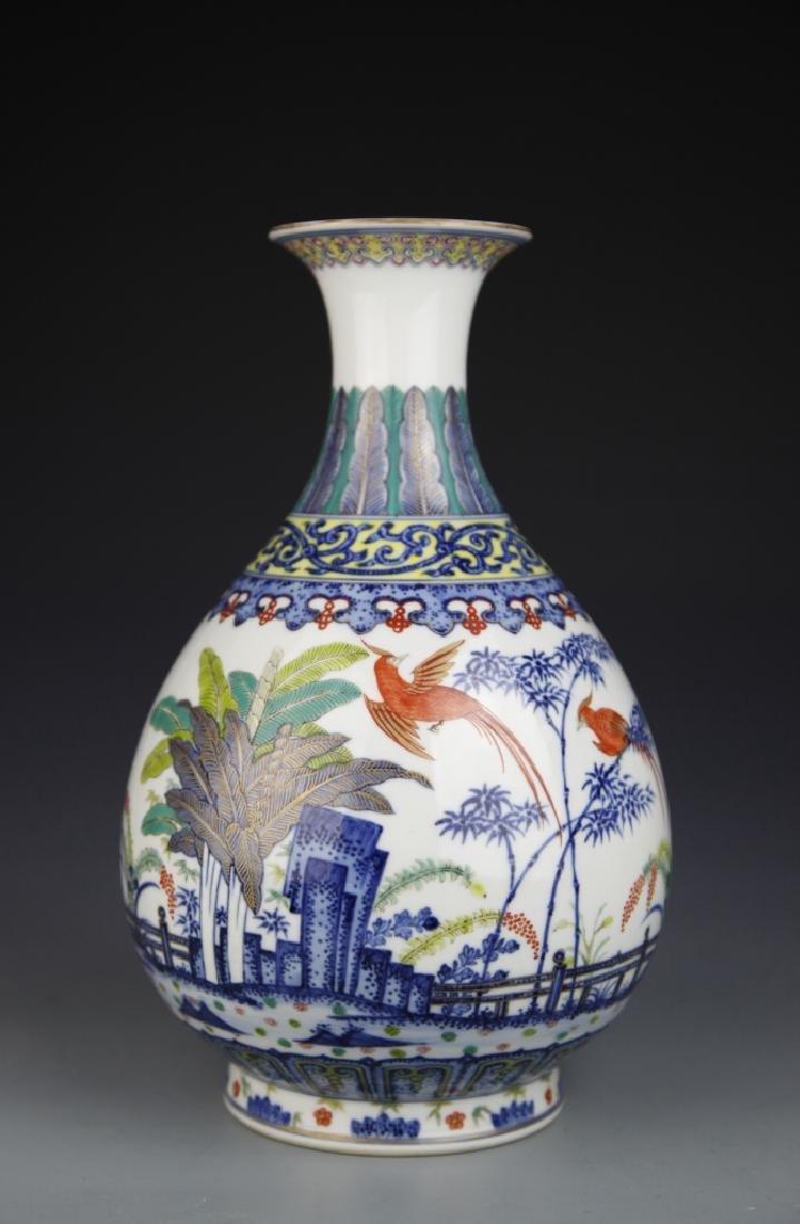 Chinese Blue and White Wucai Yuhuchunping Vase - 2