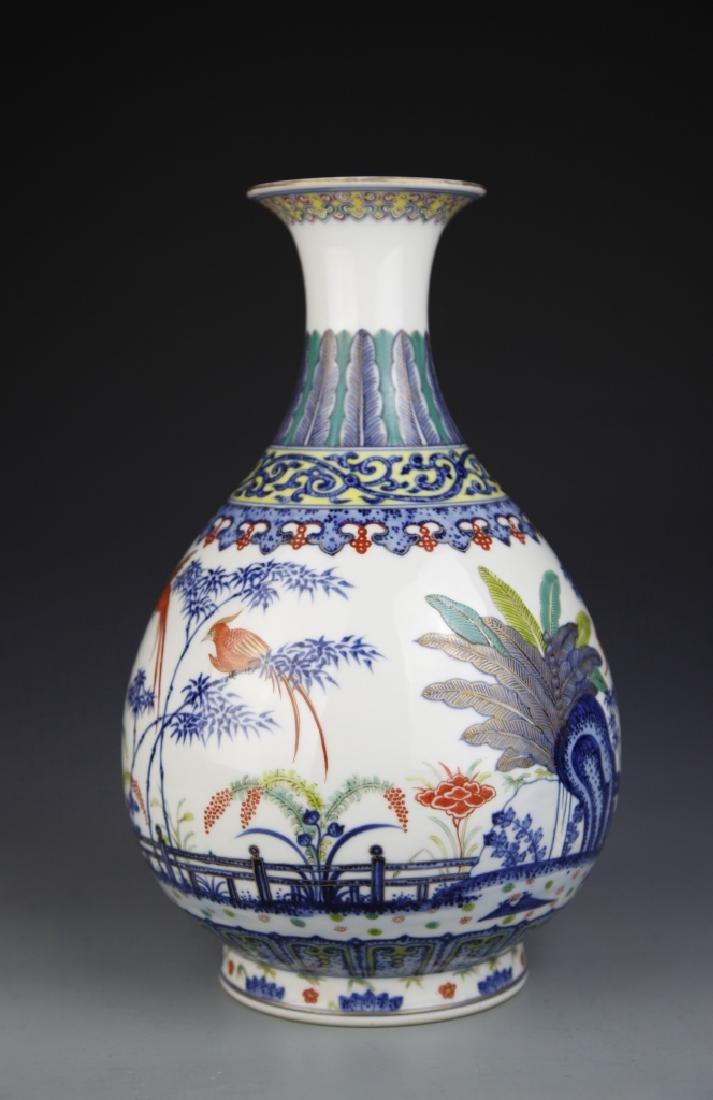 Chinese Blue and White Wucai Yuhuchunping Vase - 3