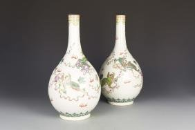 Pair of Chinese Wucai Vases
