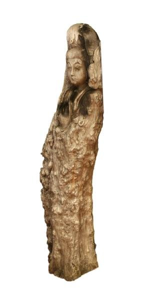 Large Chinese Wooden Guanyin Statue