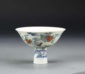 Chinese Doucai High Stem Bowl