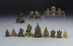 Fifteen Chinese Bronze Figures