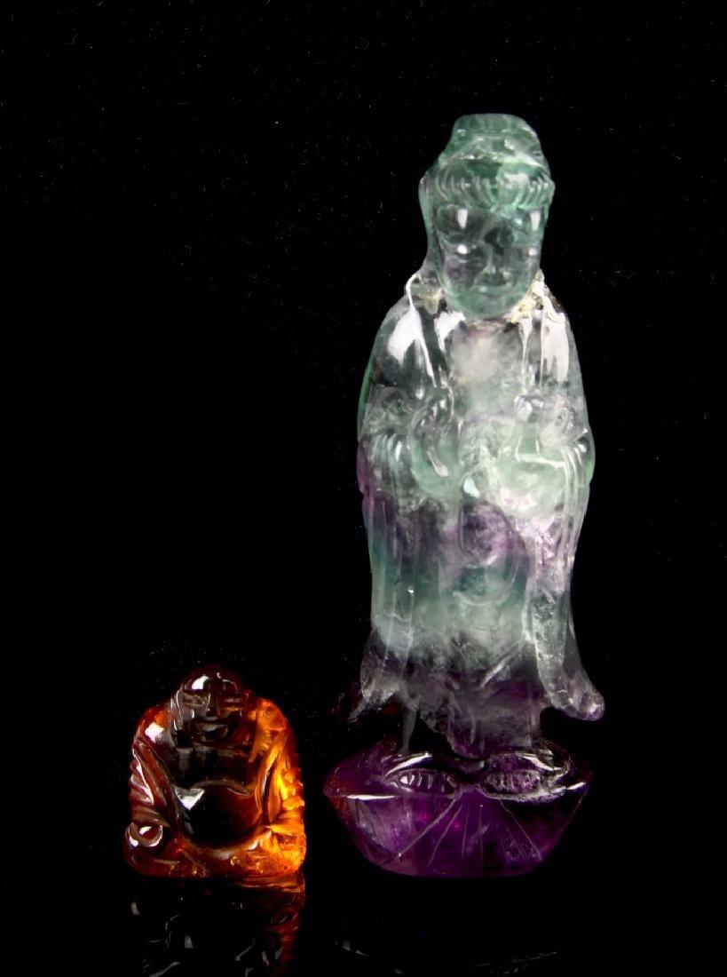 Chinese Quartz and Amber Buddha