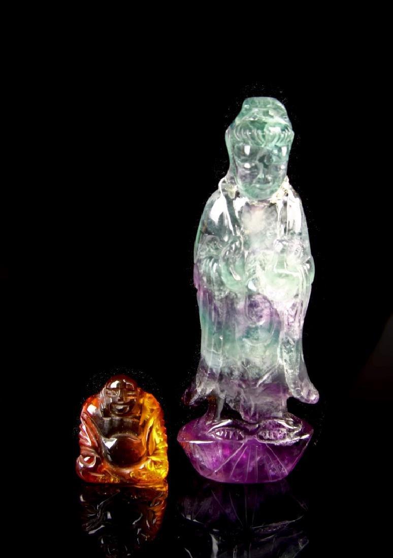 Chinese Quartz and Amber Buddha - 2